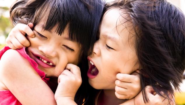 Fighting siblings.