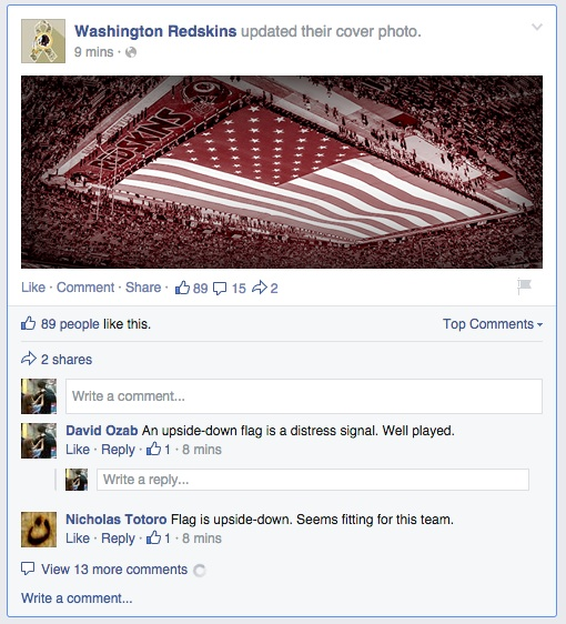 Upside down flag Facebook post.
