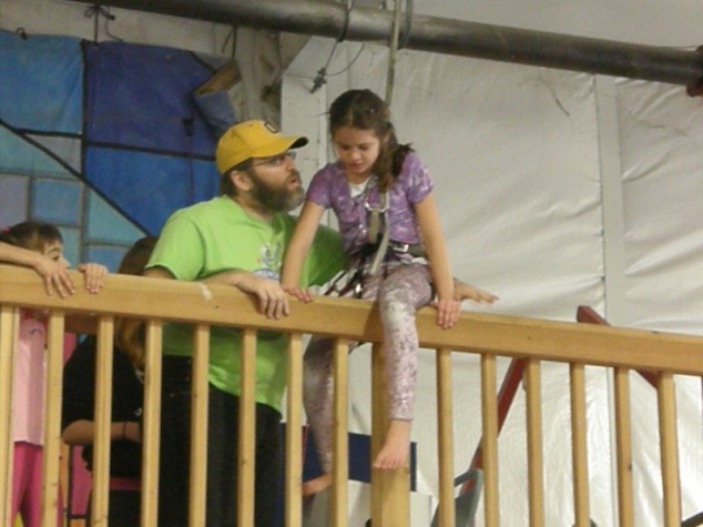 I help Anna over the railing.