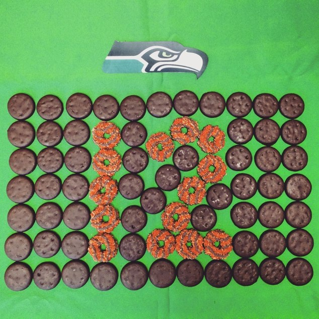 "Seahawks logo and ""12"" in Girl Scout Cookies"