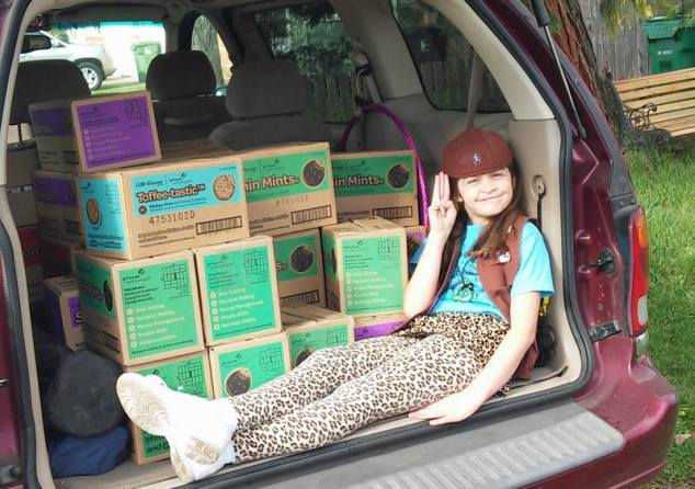 Anna in our van with all the cookies